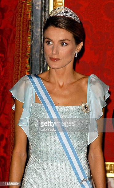 Princess Letizia during Spanish Royals Receive Czech President Vaclav Klaus And Wife Livia Klausova for a Gala Dinner at The Royal Palace in Madrid...