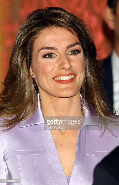 Princess Letizia during The Spanish Royal Family Presides Over a Pre'Cervantes' Literary Awards Lunch at Royal Palace in Madrid Spain
