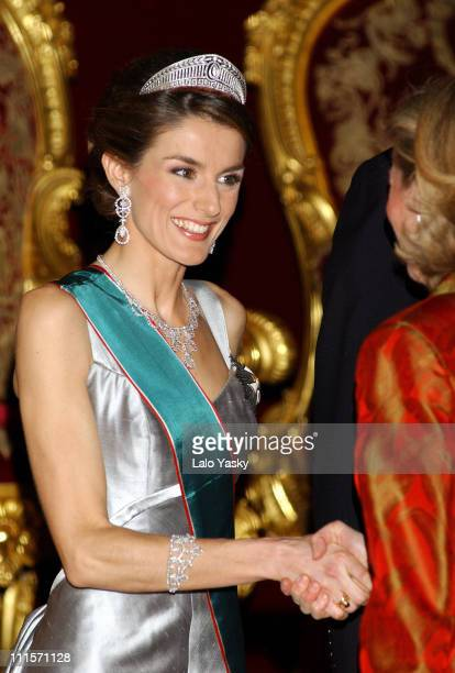 Princess Letizia during The Spanish Royal Family Welcomes Hungarian President for a Gala Dinner January 31 2005 at Zarzuela Palace in Madrid Spain