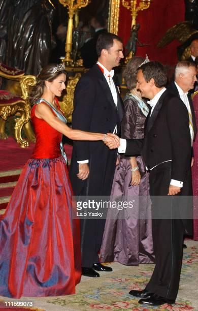 Princess Letizia husband HRH Crown Prince Felipe of Spain and Spanish Prime Minister Rodriguez Zapatero