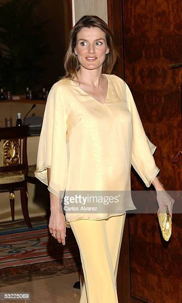 Princess Letizia is seen at the Zarzuela Palace on July 11, 2005 in Madrid, Spain. Spanish Royals Prince Felipe and his wife Princess Letizia receive...