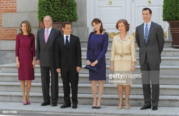 Princess Letizia King Juan Carlos French President Nicolas Sarkozy Carla Bruni Sarkozy Queen Sofia and Prince Felipe host a lunch honouring Nicolas...