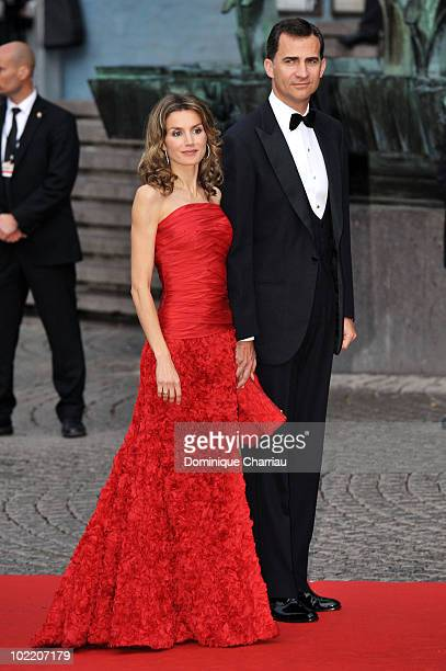 Princess Letizia of Asturias and Prince Felipe of Asturias attends the Government Gala Performance for the Wedding of Crown Princess Victoria of...