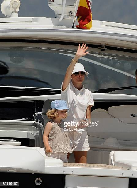 Princess Letizia of Spain and daughter Princess Leonor of Spain on board the yacht 'Somni' during the 27th Copa del Rey Mapfre Audi Sailing Cup on...