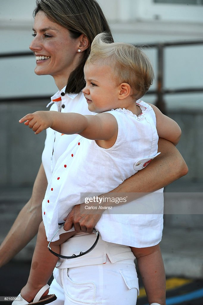 Princess Letizia of Spain and daugther Princess Sofia at the 'Club Nautico' during the second day of 27th Copa del Rey Mapfre Audi Sailing Cup on July 29, 2008 in Palma de Mallorca, Spain.