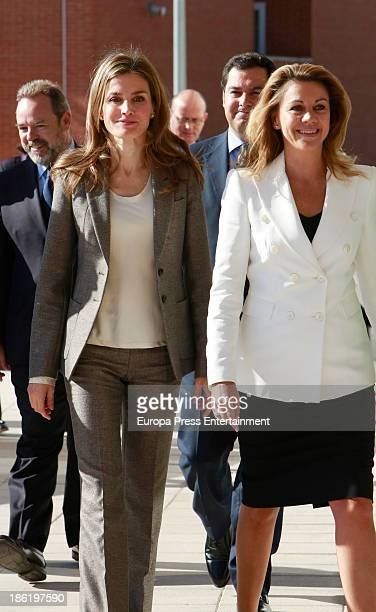 Princess Letizia of Spain and Dolores de Cospedal visit 'El Greco' residence for the elderly on October 29 2013 in Toledo Spain