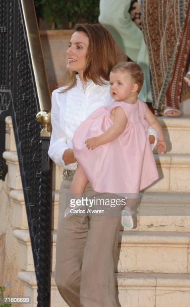 Princess Letizia of Spain and her daughter Princess Leonor attend a photocall during their summer holiday at Marivent Palace on August 08, 2006 in...