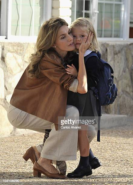 Princess Letizia of Spain and her daughter Princess Sofia arrive at 'Santa Maria de los Rosales' School on September 15 2010 in Aravaca near of...