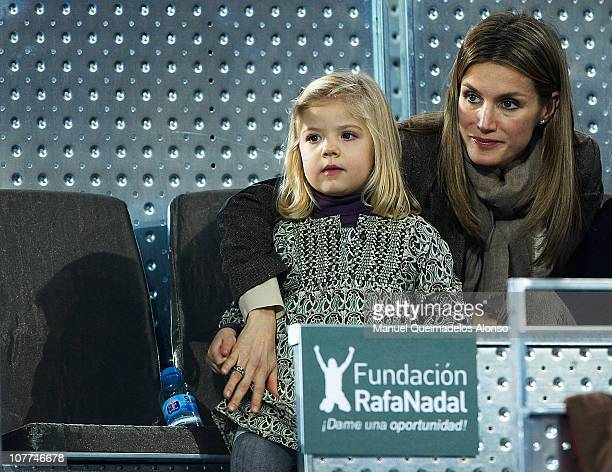 Princess Letizia of Spain and her daughter Princess Sofia attend a charity exhibition match between Roger Federer of Switzerland and Rafael Nadal of...