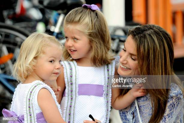 Princess Letizia of Spain and her daughters Leonor and Sofia arrive to the Real Club Nautico de Palma during the 28th Copa del Rey Audi Sailing Cup...