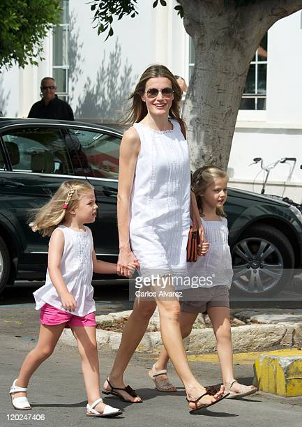 Princess Letizia of Spain and her daugthers Princess Leonor of Spain and Princess Sofia of Spain attend 30th Copa del Rey Audi Mapfre Sailing Cup day...