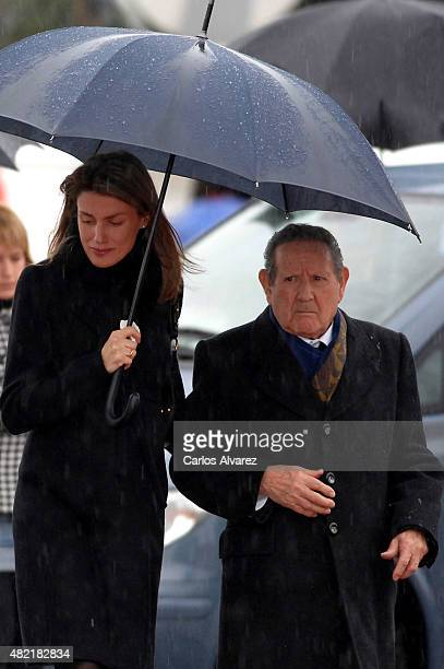 Princess Letizia of Spain and her grandfather Francisco Rocasolano attend the funeral chapel for Erika Ortiz younger sister of Princess Letiza of...