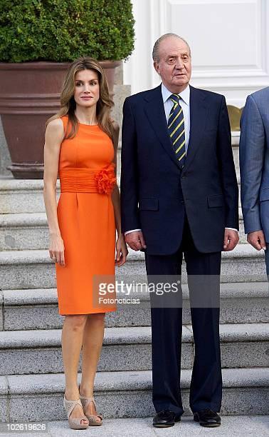 Princess Letizia of Spain and King Juan Carlos of Spain receive Syrian Arab Republic President Bashar alAssad and his wife Asma alAssad at Zarzuela...