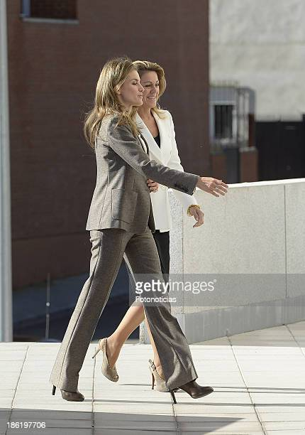 Princess Letizia of Spain and Maria Dolores de Cospedal visit 'El Greco' residence for the elderly on October 29 2013 in Toledo Spain