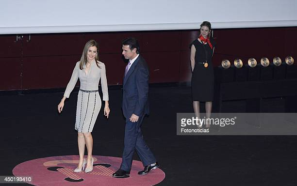 Princess Letizia of Spain and Minister Jose Manuel Soria attends the I National Fashion Awards on June 6 2014 in Madrid Spain