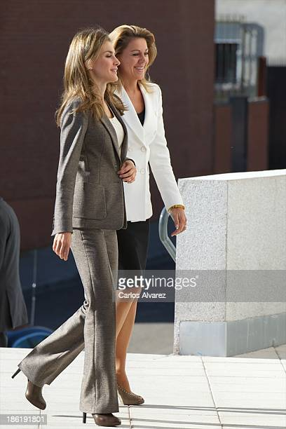 Princess Letizia of Spain and PP General Secretary Maria Dolores de Cospedal visit 'El Greco' residence for the elderly on October 29 2013 in Toledo...