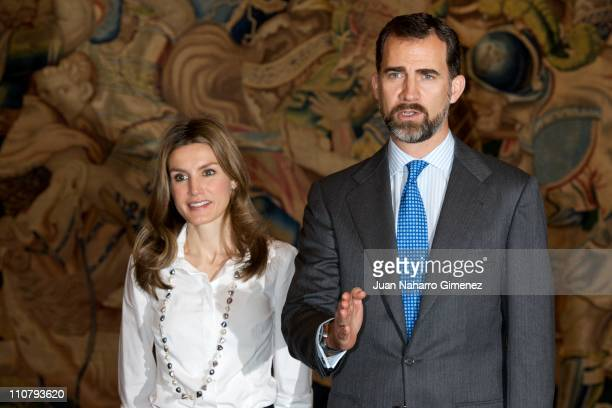 Princess Letizia of Spain and Prince Felipe attend several audiences at Zarzuela Palace on March 24 2011 in Madrid Spain