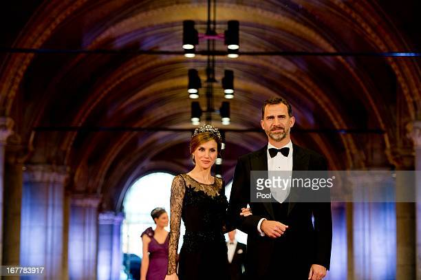 Princess Letizia of Spain and Prince Felipe of Spain arrive to attend a dinner hosted by Queen Beatrix of The Netherlands ahead of her abdication at...