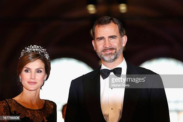 Princess Letizia of Spain and Prince Felipe of Spain attend a dinner hosted by Queen Beatrix of The Netherlands ahead of her abdication at...