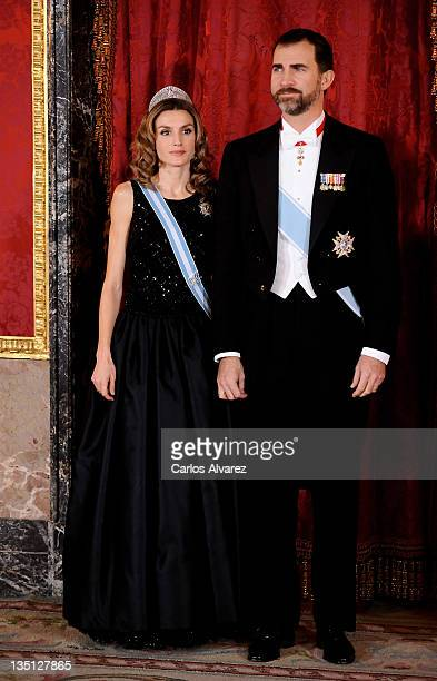Princess Letizia of Spain and Prince Felipe of Spain attend a Gala Dinner honouring Vietnam President at the Royal Palace on December 14 2009 in...