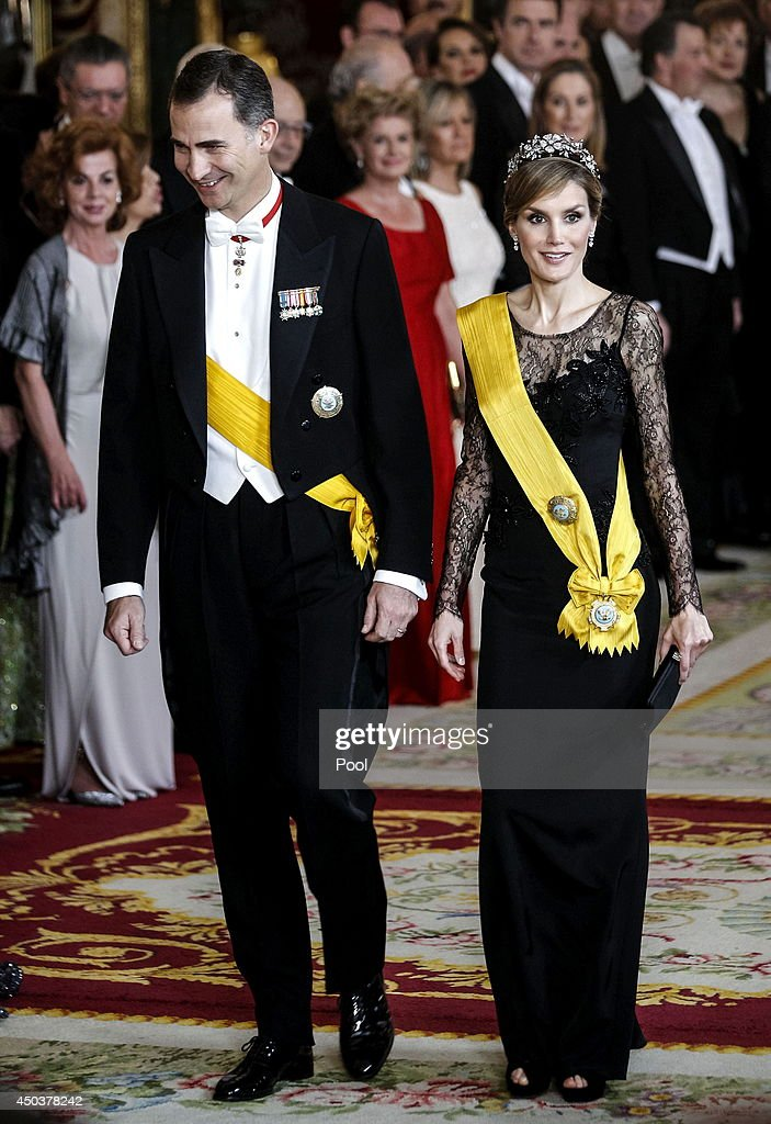 Princess Letizia of Spain and Prince Felipe of Spain attend a Gala Dinner in honour of Mexican President Enrique Pena Nieto at The Royal Palace on June 9, 2014 in Madrid, Spain.