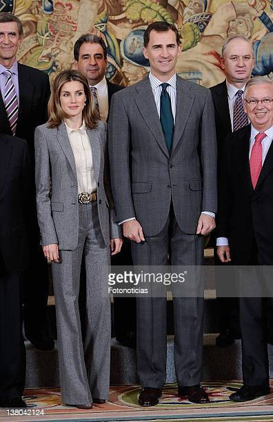 Princess Letizia of Spain and Prince Felipe of Spain attend Audiences at Zarzuela Palace on February 1 2012 in Madrid Spain