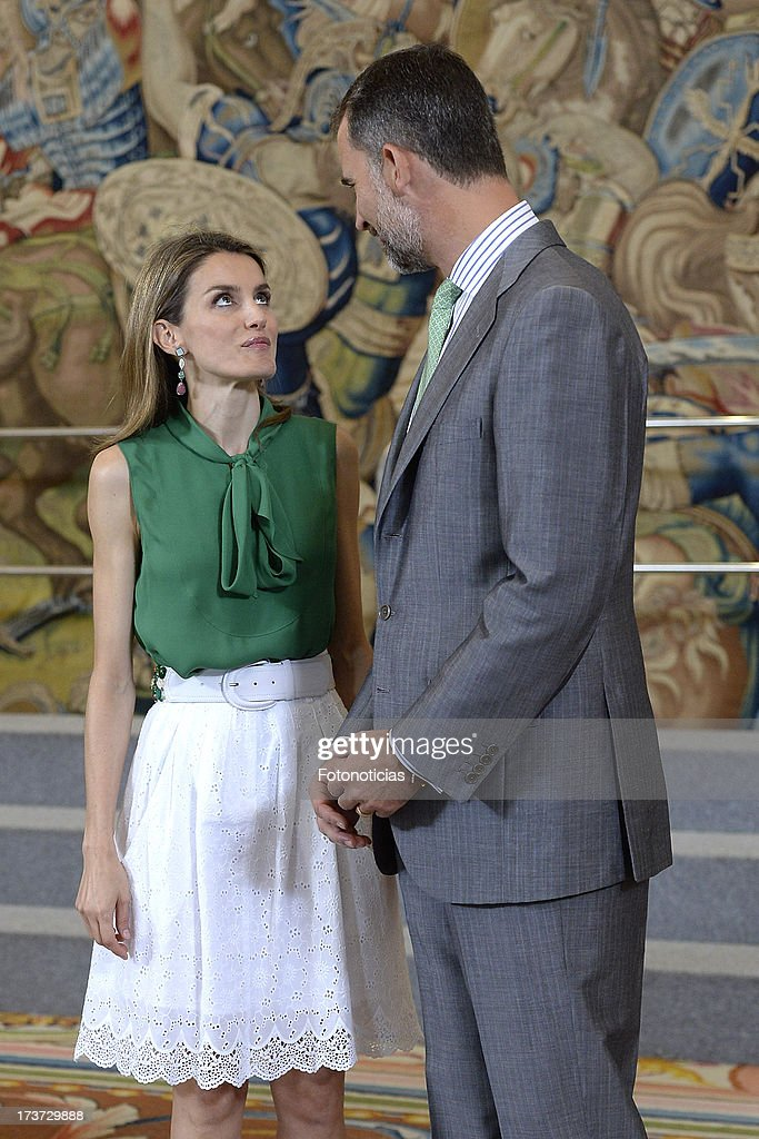 Princess Letizia of Spain and Prince Felipe of Spain attend audiences at Zarzuela Palace on July 17, 2013 in Madrid, Spain.