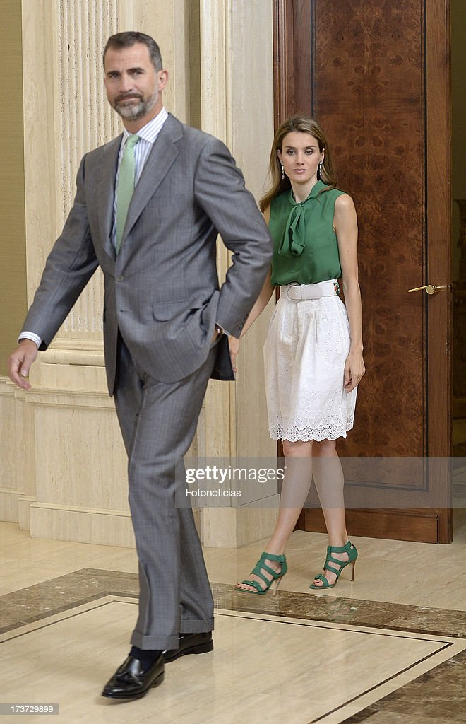 Princess Letizia of Spain (R) and Prince Felipe of Spain (L) attend audiences at Zarzuela Palace on July 17, 2013 in Madrid, Spain.