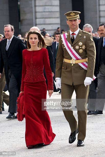Princess Letizia of Spain and Prince Felipe of Spain attend 'Pascua Militar' at the Royal Palace on January 6, 2010 in Madrid, Spain.