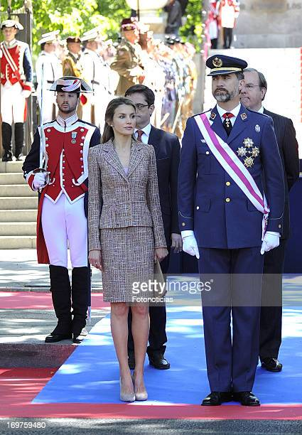 Princess Letizia of Spain and Prince Felipe of Spain attend the Armed Forces Day at Plaza de la Lealtad on June 1 2013 in Madrid Spain