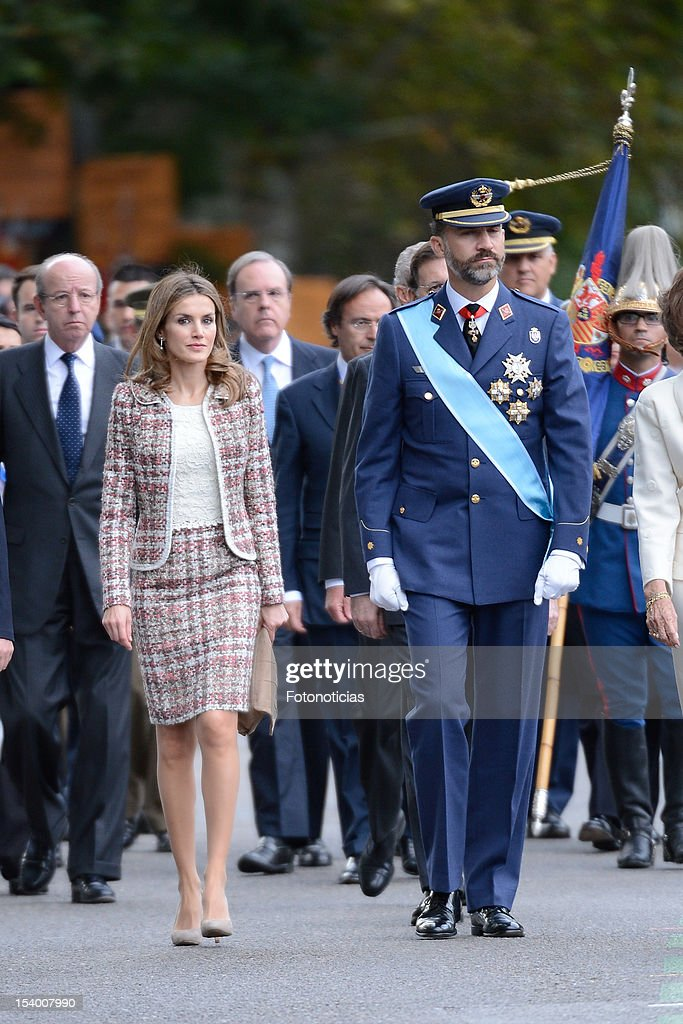 Princess Letizia of Spain and Prince Felipe of Spain attend the National Day Military Parade on October 12, 2012 in Madrid, Spain.