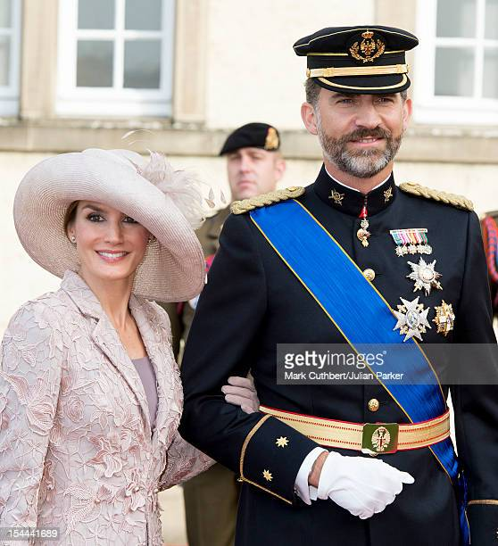 Princess Letizia of Spain and Prince Felipe of Spain attend the wedding ceremony of Prince Guillaume Of Luxembourg and Stephanie de Lannoy at the...