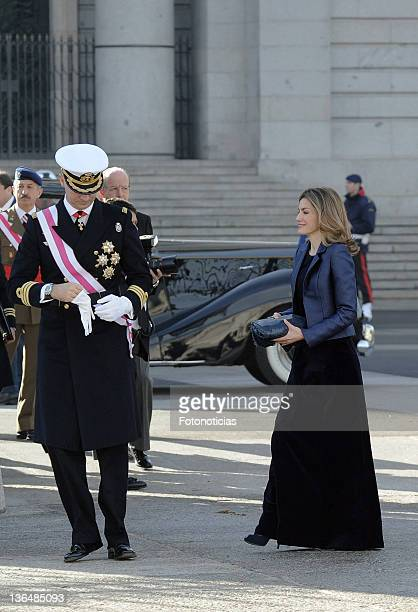 Princess Letizia of Spain and Prince Felipe of Spain attend the traditional 'Pascua Militar' ceremony at The Royal Palace on January 6 2012 in Madrid...
