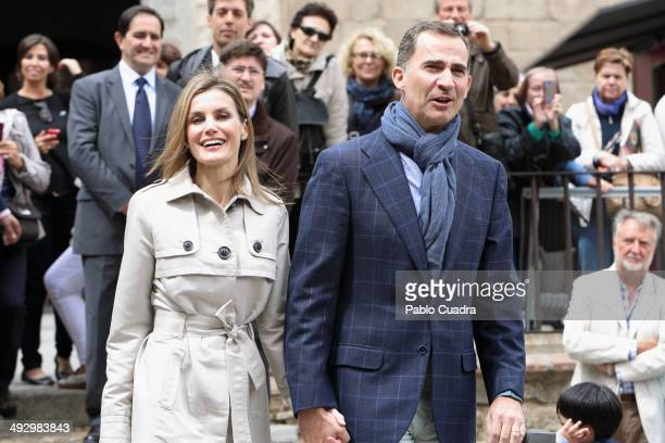 Princess Letizia of Spain and Prince Felipe of Spain celebrate their 10th Wedding Anniversary visiting 'El Greco' exhibition at the 'Santa Cruz'...