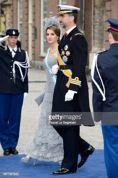 Princess Letizia of Spain and Prince Felipe of Spain depart the Nieuwe Kerk to return to the Royal Palace after the abdication of Queen Beatrix of...