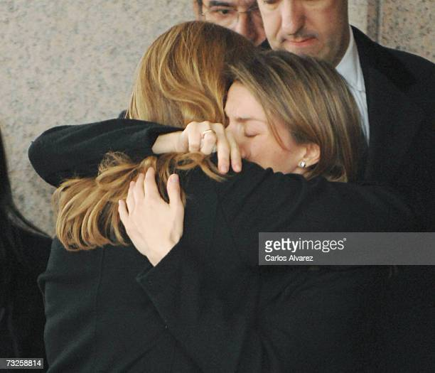 Princess Letizia of Spain and Princess Cristina embrace during the funeral for Erika Ortiz younger sister of Princess Letiza on February 08 2007 at...