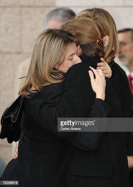 Princess Letizia of Spain and Princess Elena embrace during the funeral for Erika Ortiz younger sister of Princess Letiza on February 08 2007 at La...