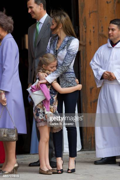 Princess Letizia of Spain and Princess Sofia of Spain attend the Easter Mass at the Cathedral of Palma de Mallorca on April 20 2014 in Palma de...