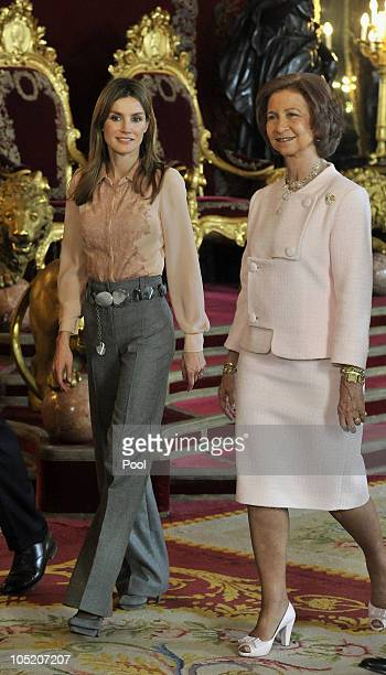 Princess Letizia of Spain and Queen Sofia of Spain attend Spain's National Day Royal Reception at the Royal Palace on October 12 2010 in Madrid Spain
