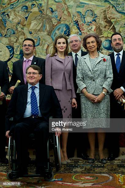 Princess Letizia of Spain and Queen Sofia of Spain attend the 'Civil Awards Order Of Social Solidarity 2013' at the Zarzuela Palace on January 14...