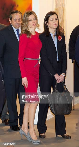 Princess Letizia of Spain and Spanish Culture Minister Angeles Gonzalez Sinde attend the inauguration of ARCO fair 2011 at Ifema on February 17 2011...