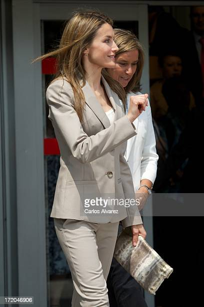 Princess Letizia of Spain and Spanish Minister of Health Social services and Equality Ana Mato attend the 'Proyecto Promociona' presentation at the...