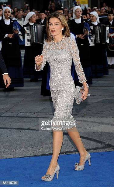 Princess Letizia of Spain arrives at the Prince of Asturias Award Ceremony on October 24 2008 at the 'Campoamor' Theatre in Oviedo Spain