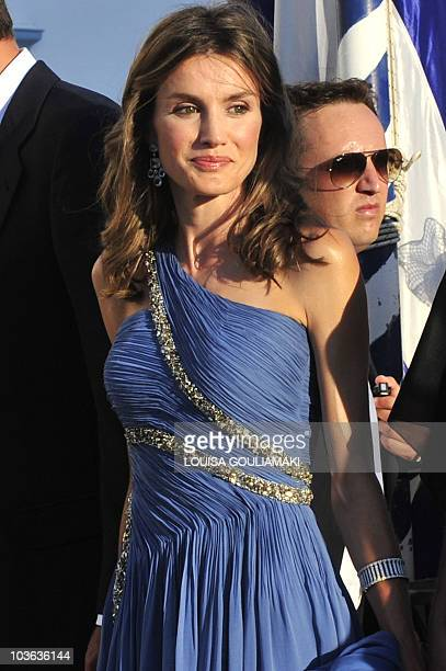 Princess Letizia of Spain arrives for the wedding of former Prince Nicolas of Greece and Tatiana Blatnik at the island of Spetses on August 25, 2010....