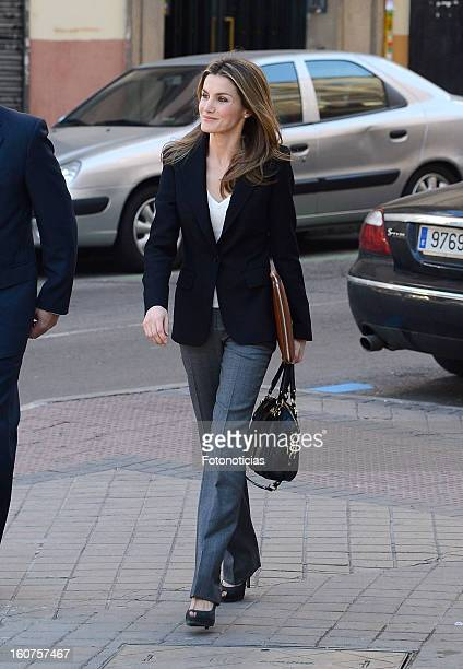 Princess Letizia of Spain arrives to the 'Rare Diseases Spanish Federation' on February 5 2013 in Madrid Spain