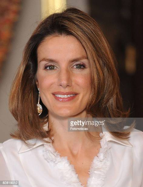 Princess Letizia of Spain attends a dinner in honour of Costa Rica´s President Oscar Arias Sanchez at The Royal Palace on September 10 2008 in Madrid...