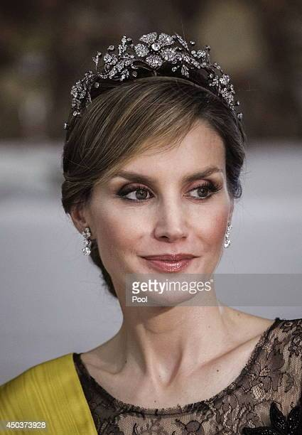 Princess Letizia of Spain attends a Dinner in honour of Mexican President Enrique Pena Nieto at The Royal Palace on June 9 2014 in Madrid Spain