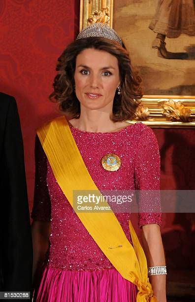 Princess Letizia of Spain attends a Gala Dinner Honouring Mexican President on June 11 2008 at the Royal Palace in Madrid Spain