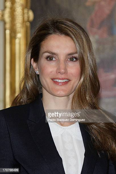 Princess Letizia of Spain attends a meeting with members of the 'Principe de Asturias Foundation' at El Pardo Royal Palace on June 17 2013 in Madrid...