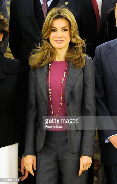 Princess Letizia of Spain attends an Audience at at Zarzuela Palace on December 20, 2010 in Madrid, Spain.